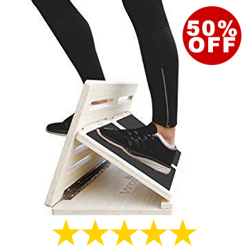 WODFitters Wooden Slant Board For Calf Stretching—Adjusts To 4 Positions—Non-slip Surface And Base