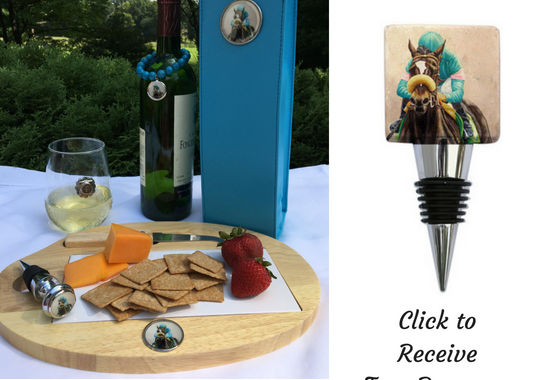 Zenyatta horse horse cheese board and bottle stopper