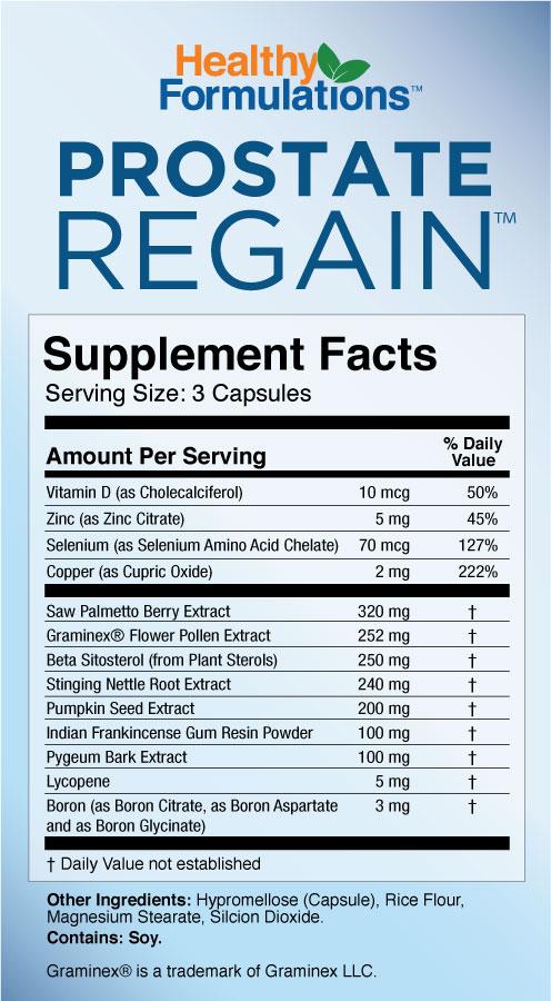 Prostate Regain Supplement Facts