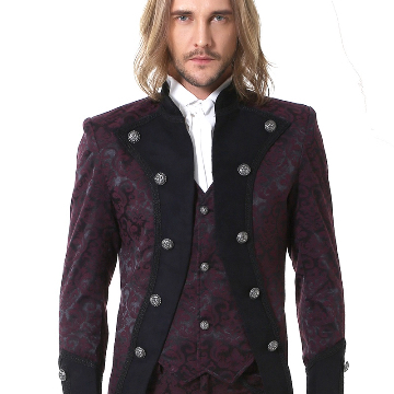 Gothic Baroque Pirate Jacket with vest attached in claret