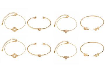 Bohemian Glam Gold Bracelets Stack - 4pcs Bundle Offer