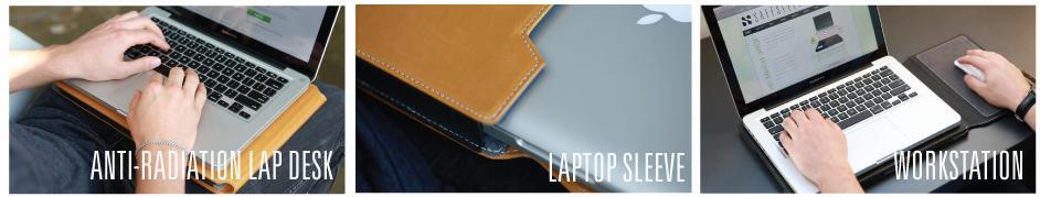 anti-radiation lap desk, sleeve and workstation