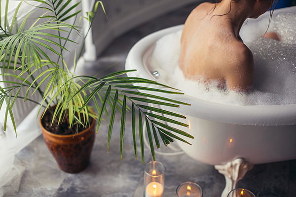 A relaxing bubble bath can relax you and help you to sleep