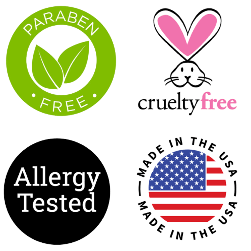 paraben free, cruelty-free, allergy tested, Made in uSA