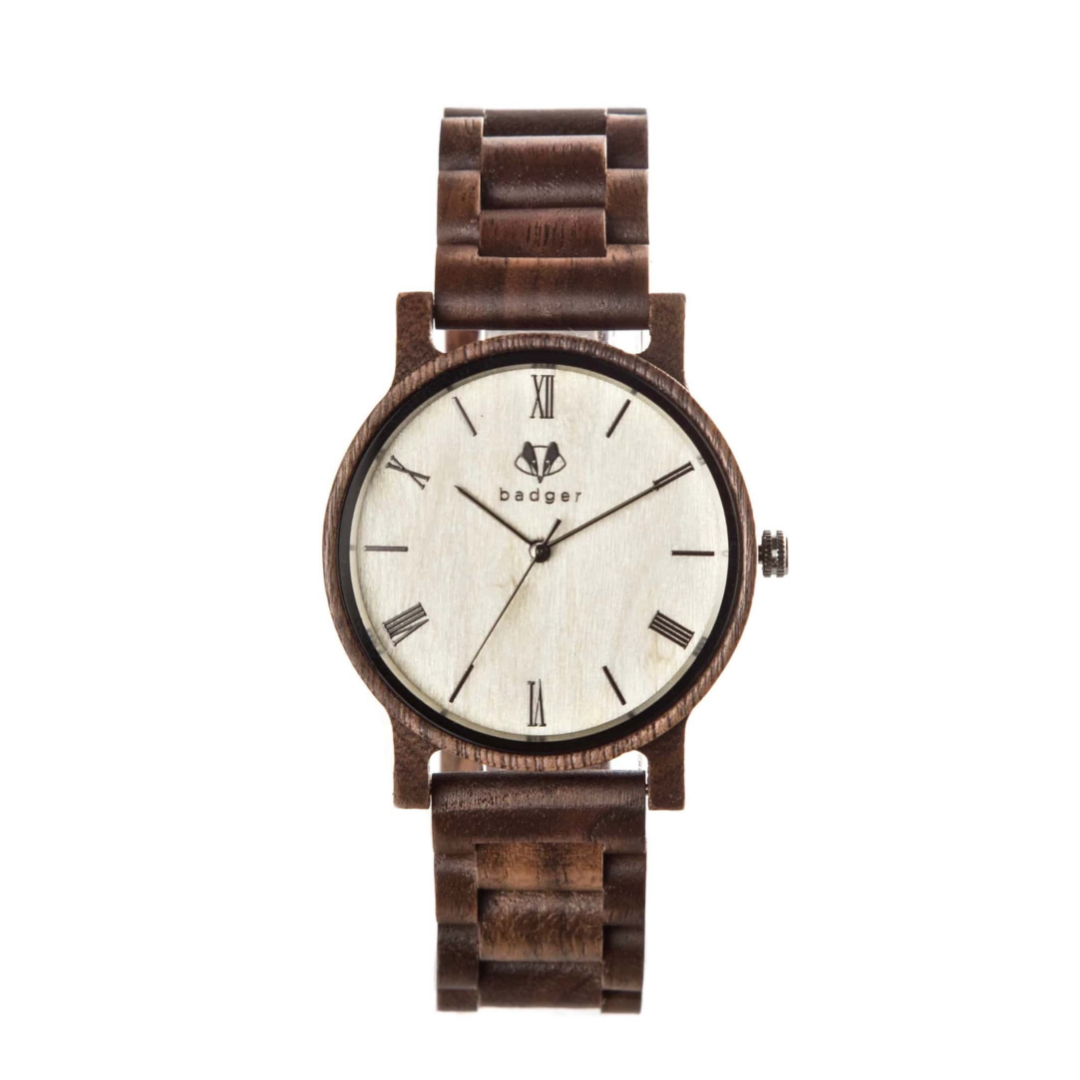 standard watch with a white dialer and wooden chain | custom watch for men