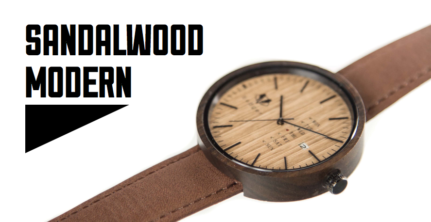 sandalwood modern watch for men | sandalwood watch with brown belts