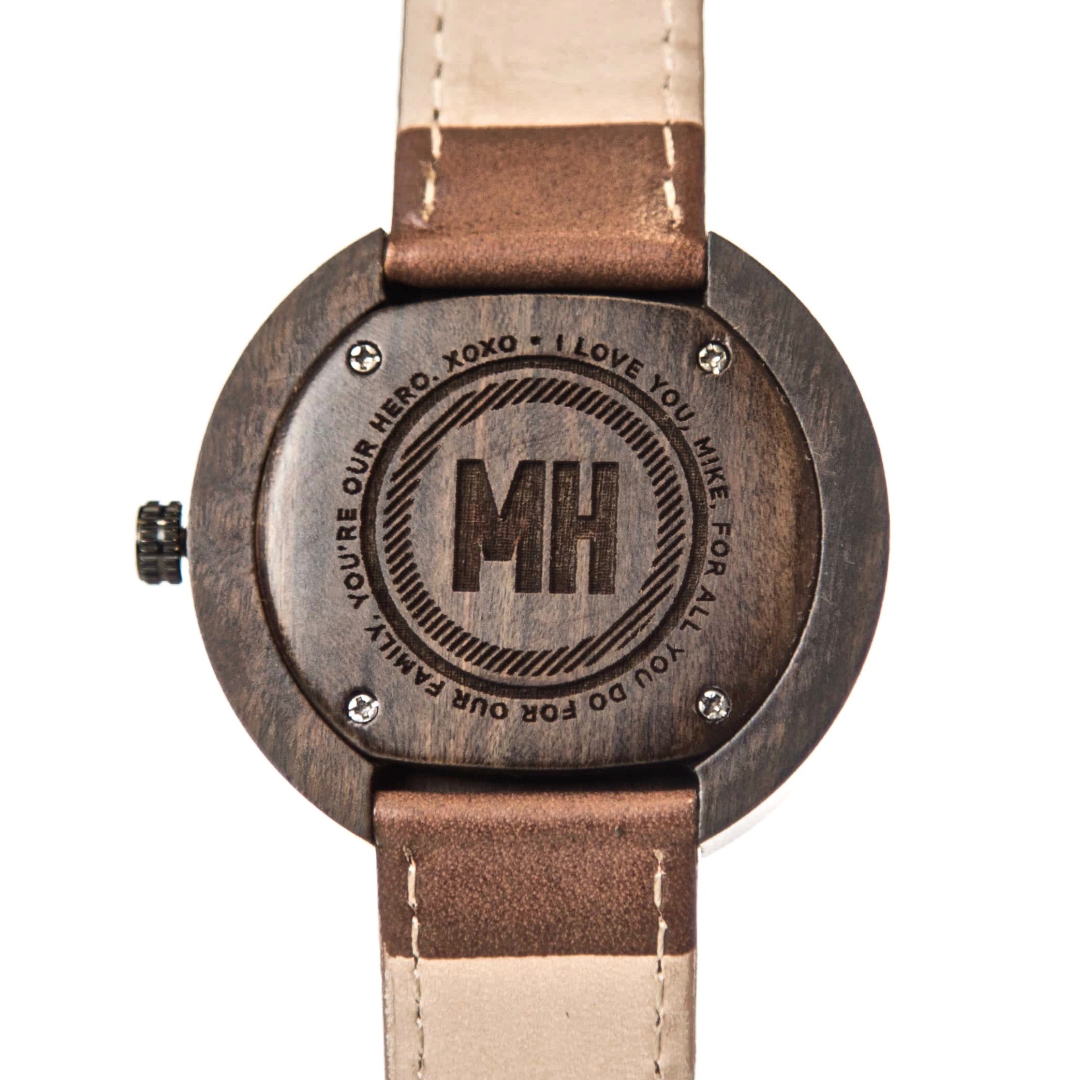 personalized wooden watch with initials at back | bamboo wood watch