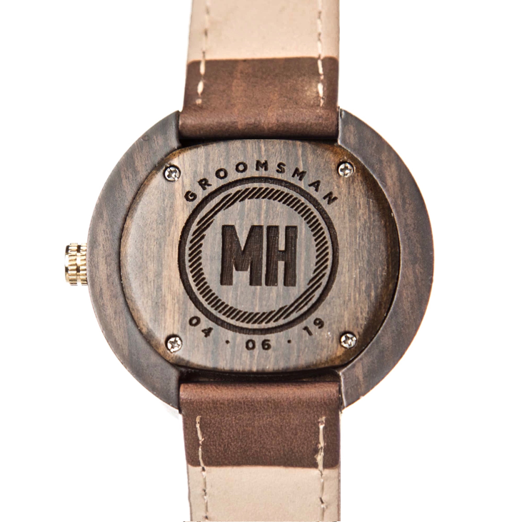 groomsmen watch with date and initials at back | gifts for groomsmen