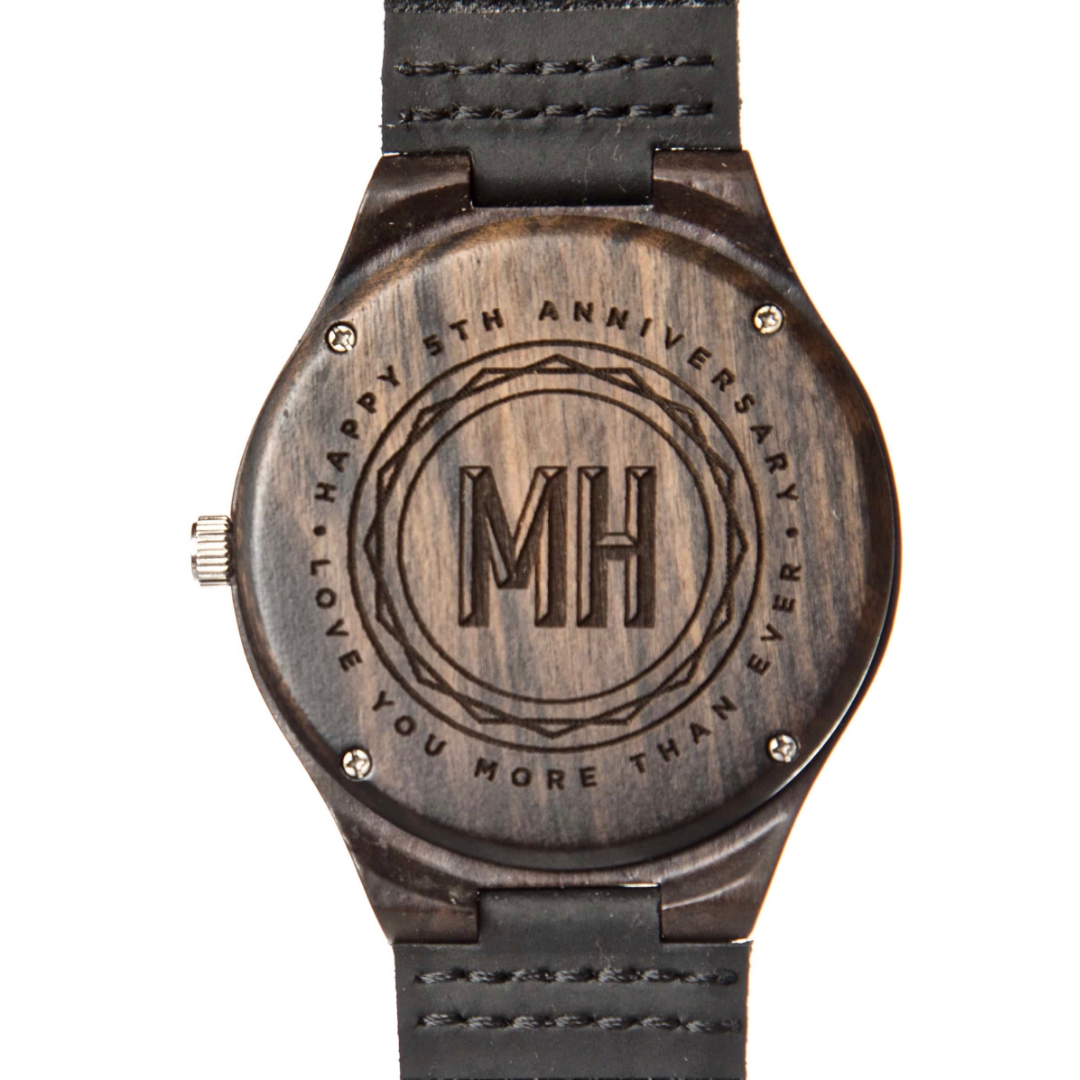 rustic wooden watch with initials and a note at back | personalized wooden watch