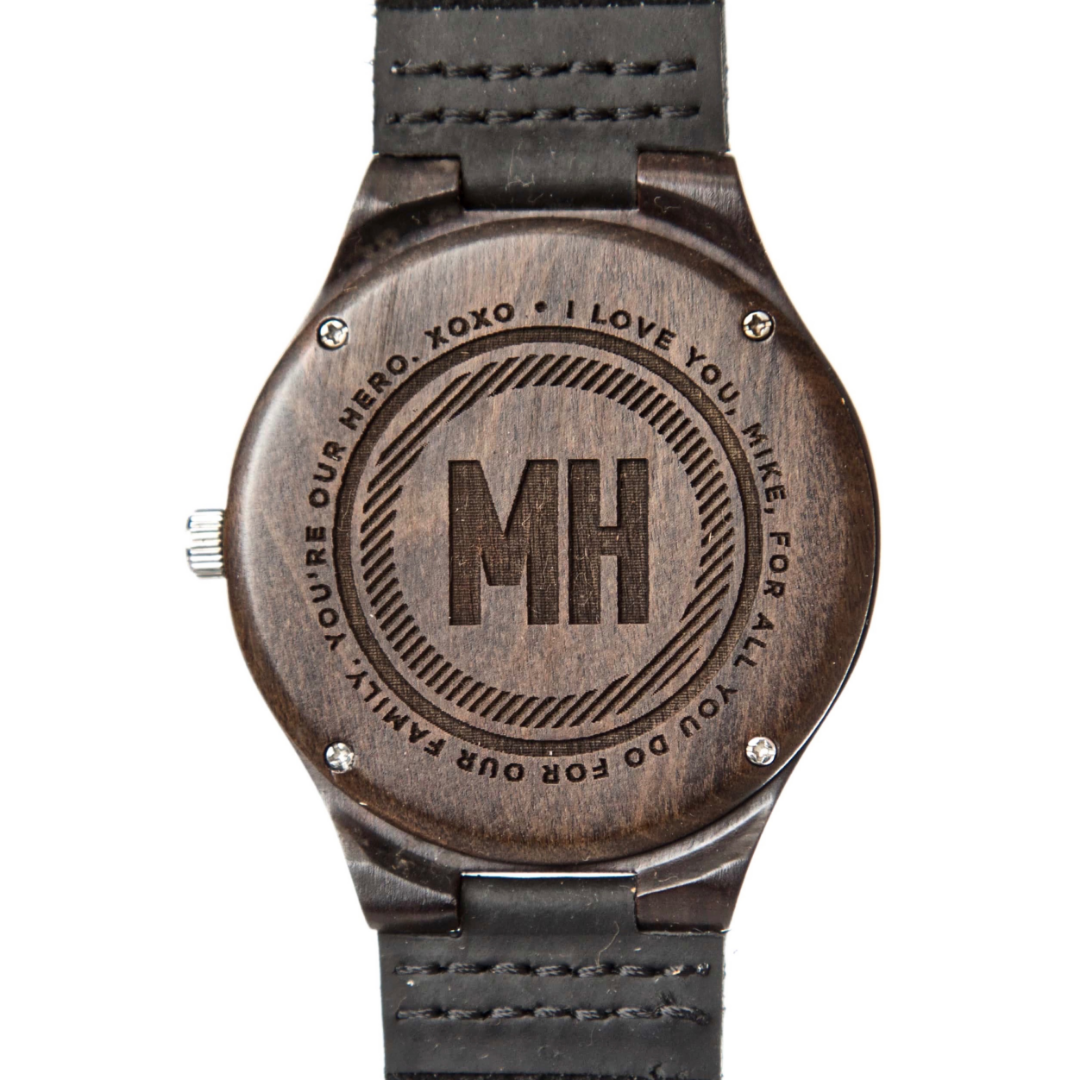 dark brown watch with initials at back | men's watch with a note at back
