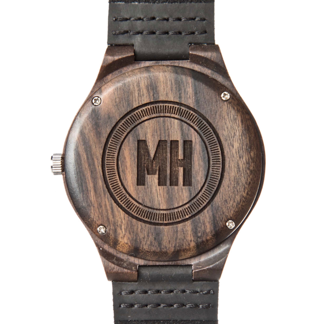 dark brown wooden watch with initials engraved on back | wooden watch back