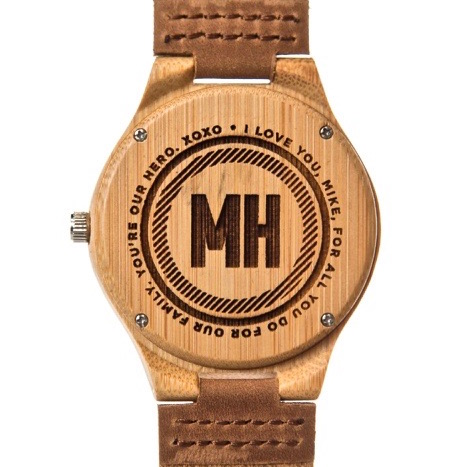 classic sandalwood watch with initials at back | personalized gift