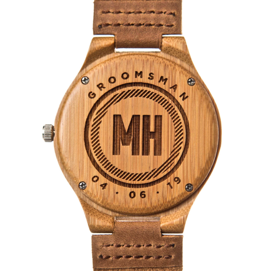 personalized watches with date and initials at back | custom watches for him