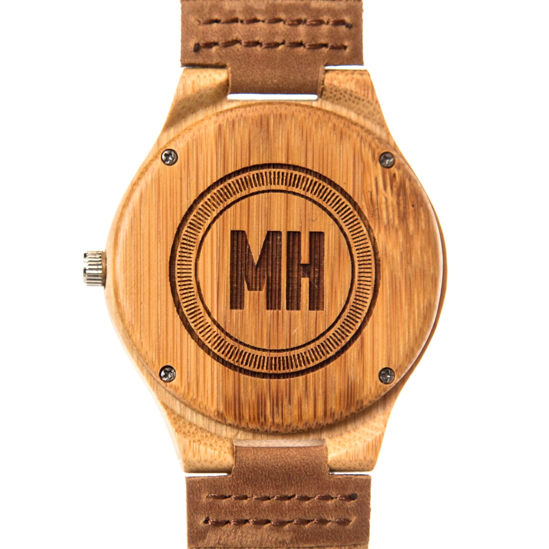 sandalwood watch with leather belts | wooden watch with initials at back