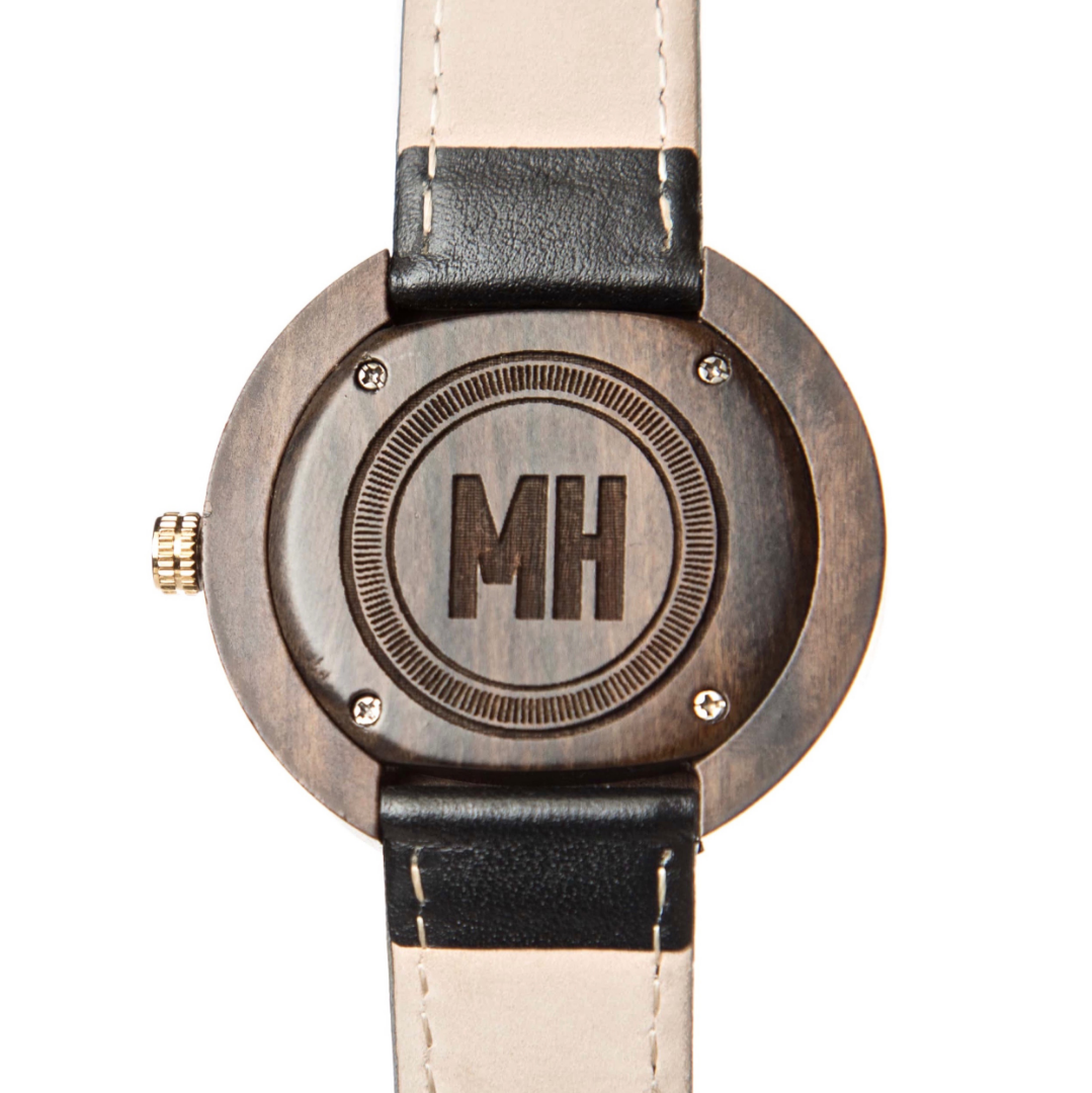 personalized men's watch with initials at back | personalized watch