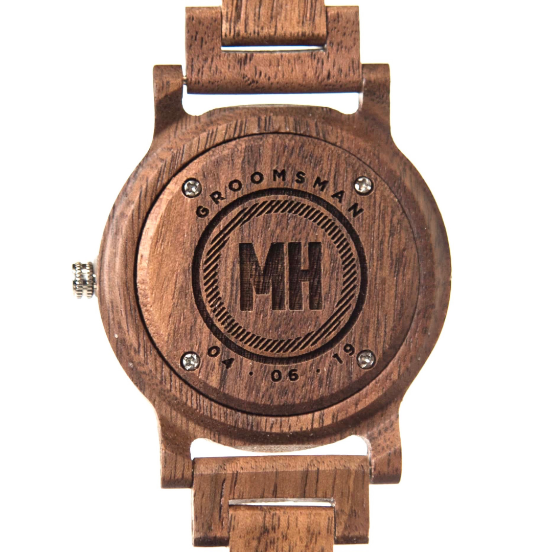 A wooden watch with date and initials at back | groomsmen gift