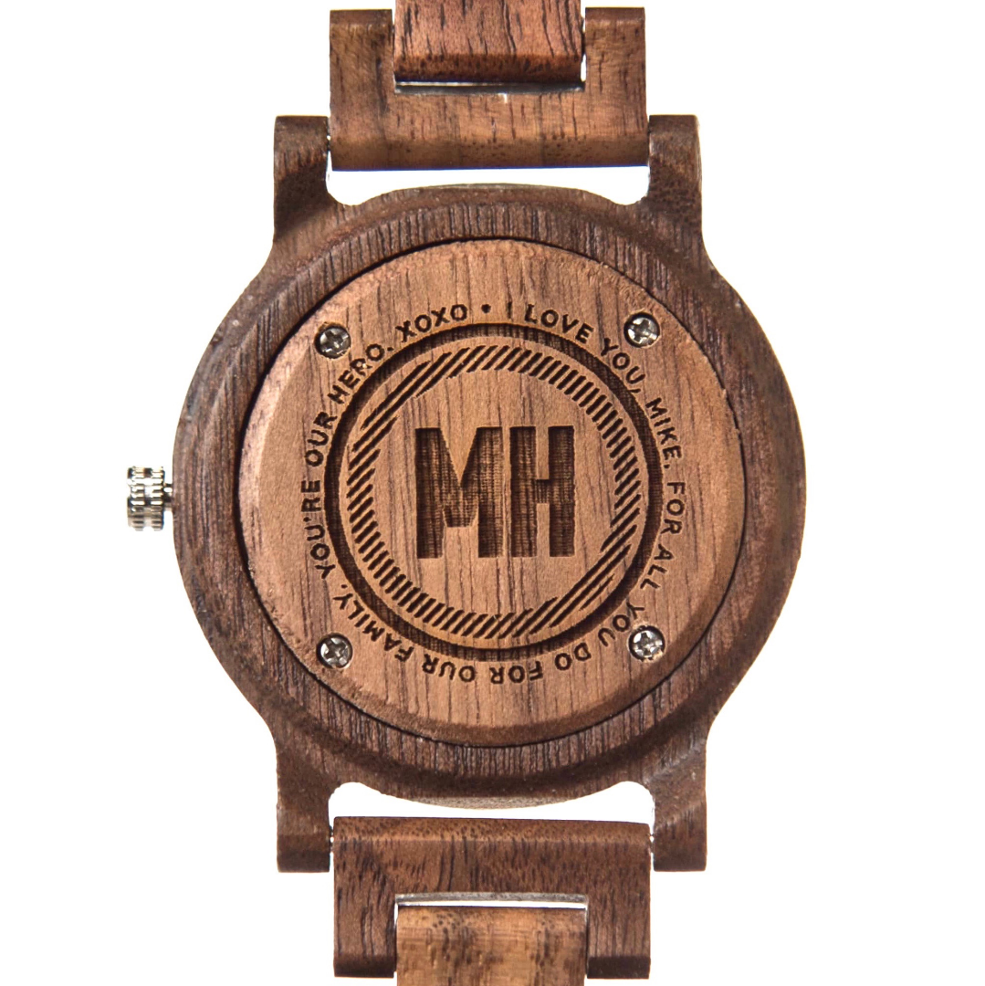 watch with a special note at back | wooden watch