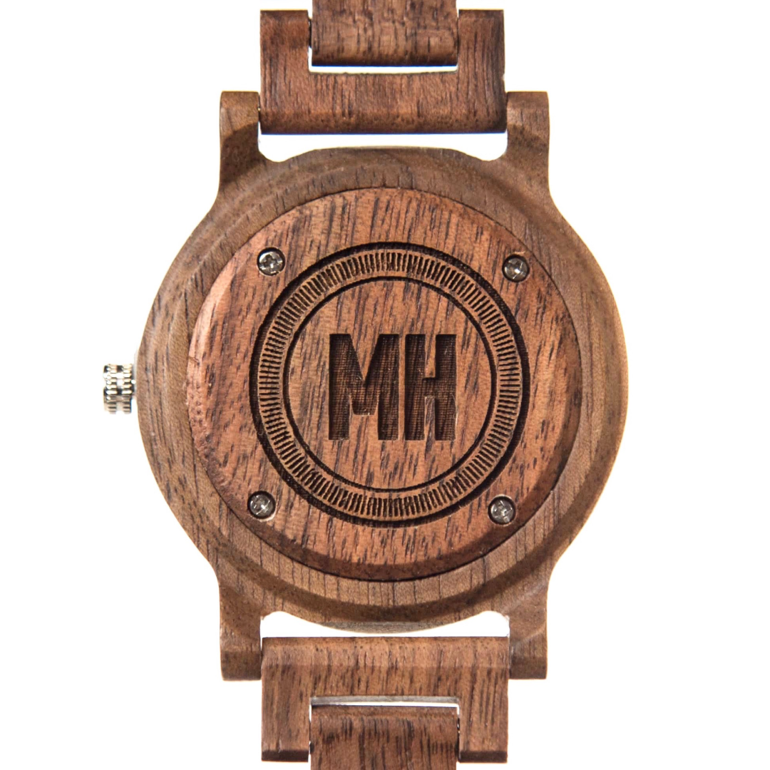 wooden watches from swanky badger | personalized wooden dialer watch with initials at back