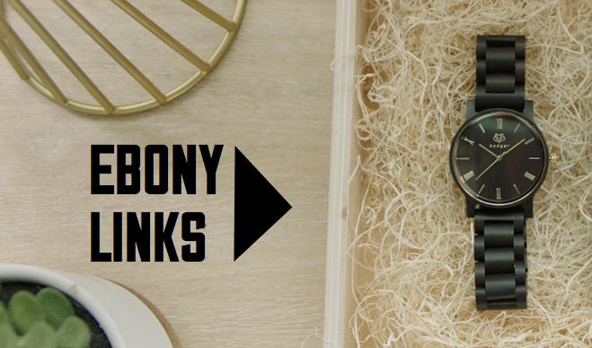 watch with ebony links | men's watch with ebony links