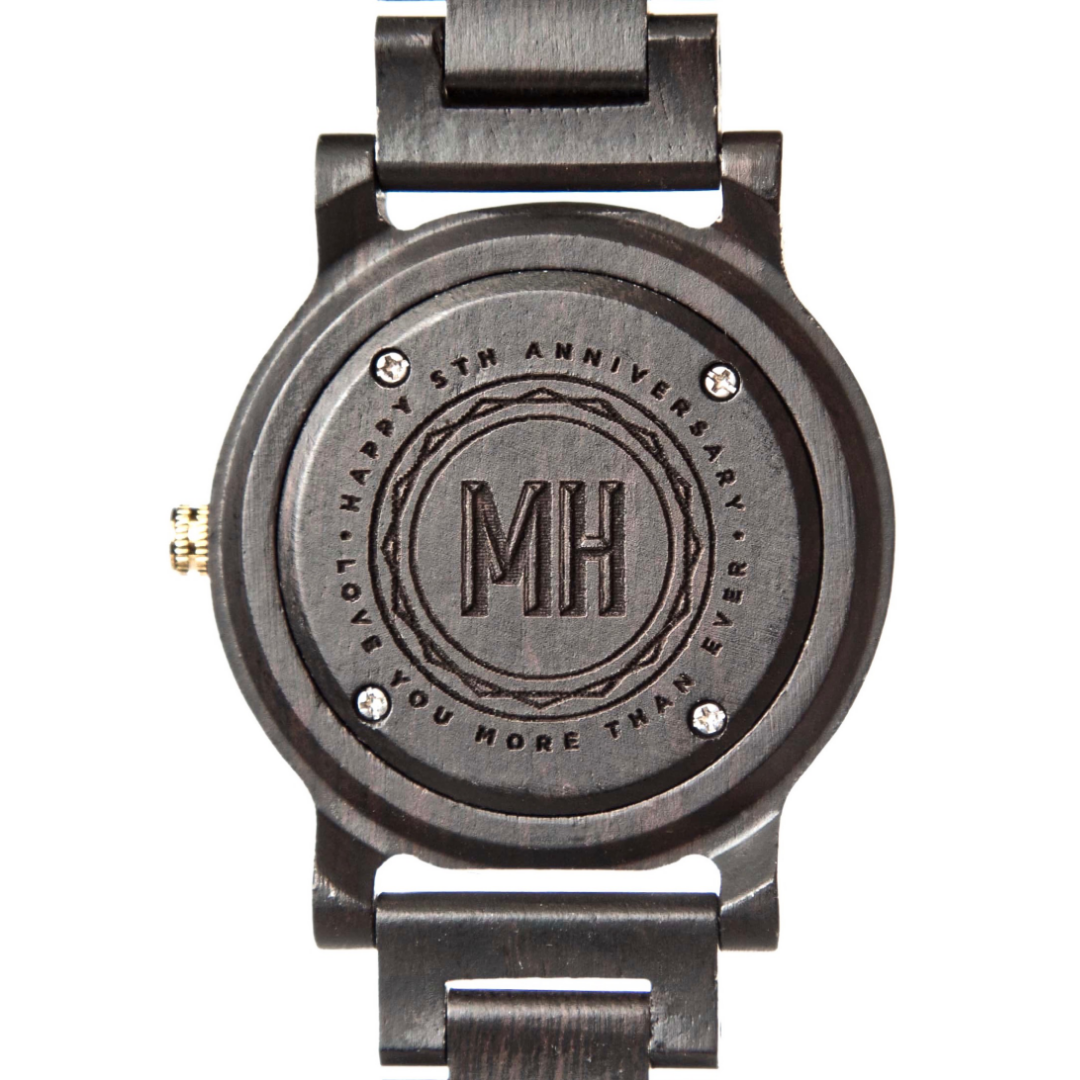 Black watch with initials and date at back | personalized black men's watch