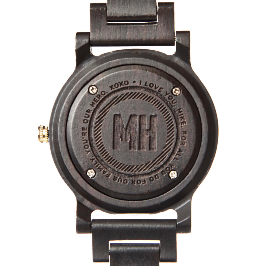 personalized watch online | bamboo wooden watch with a love note at back