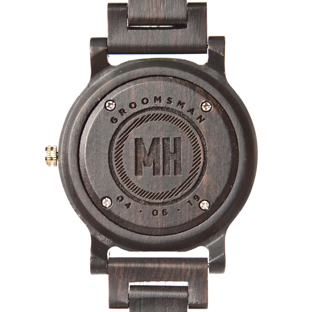 custom watches for him | mens wooden watch with initials at back