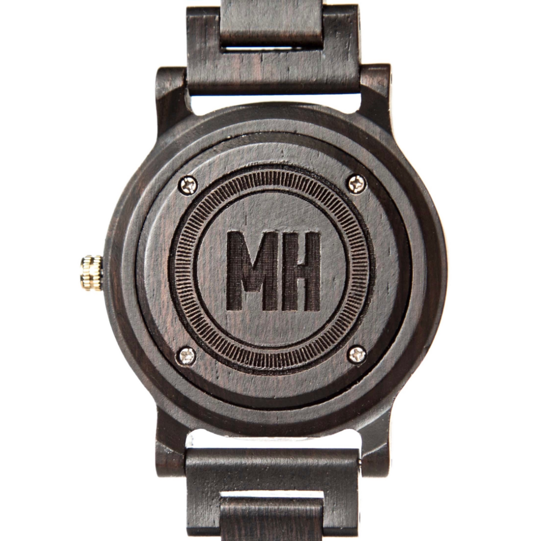 black watch with initials engraved at back | personalized black watch