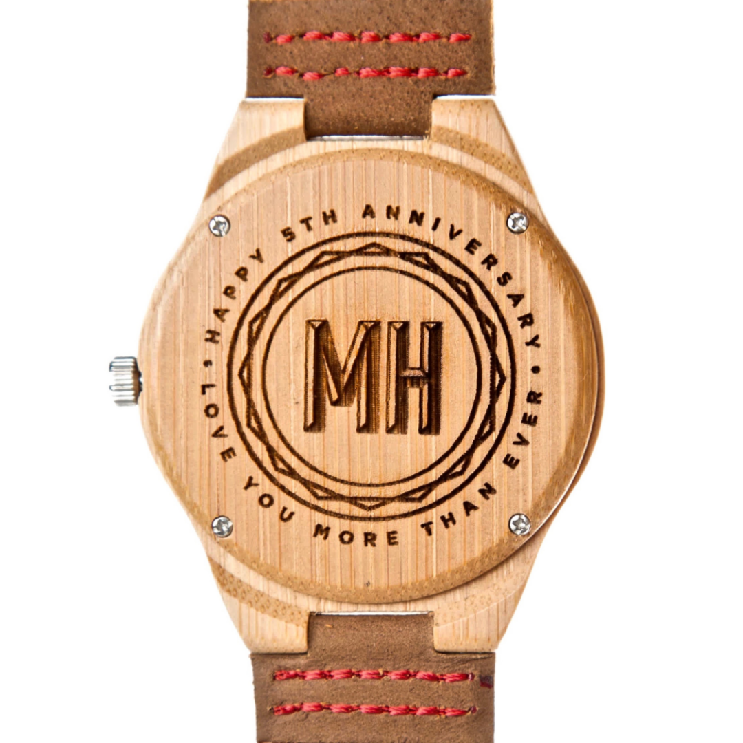 Personalized watch for anniversary | watch with a message and initials at back