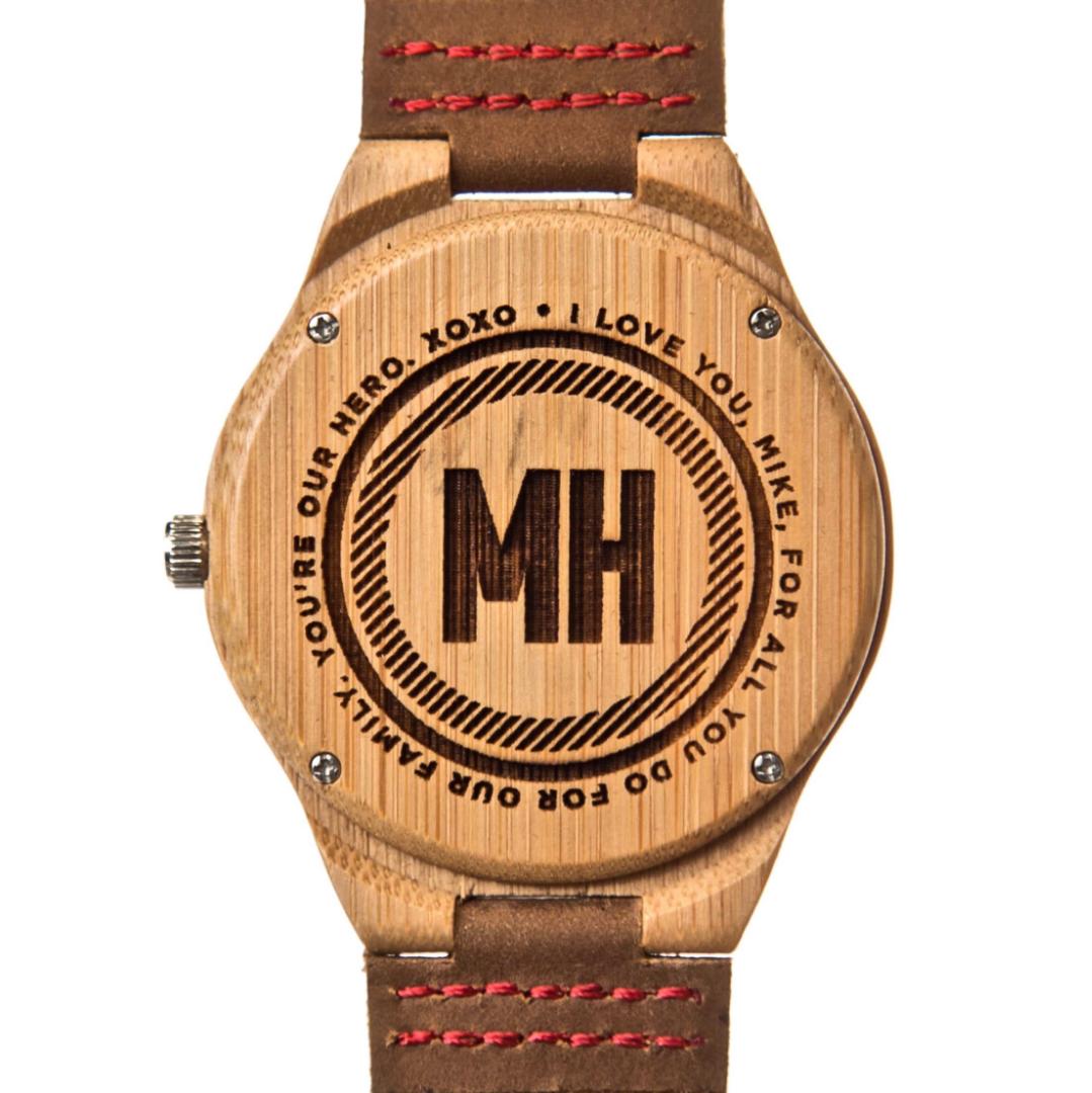 love note engraved on men's watch | custom wooden watch