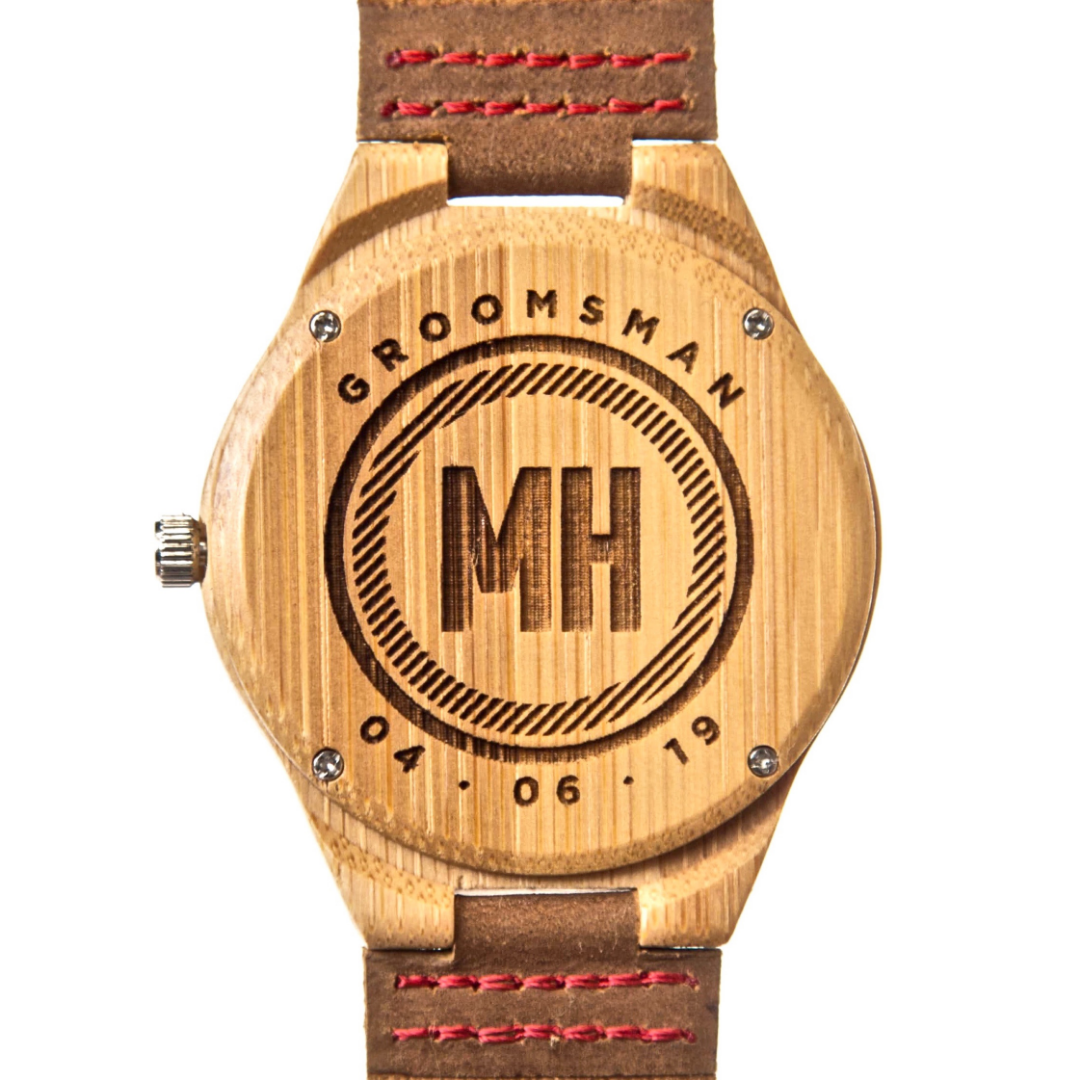 bamboo watches for groomsmen | watches with date engraved at back