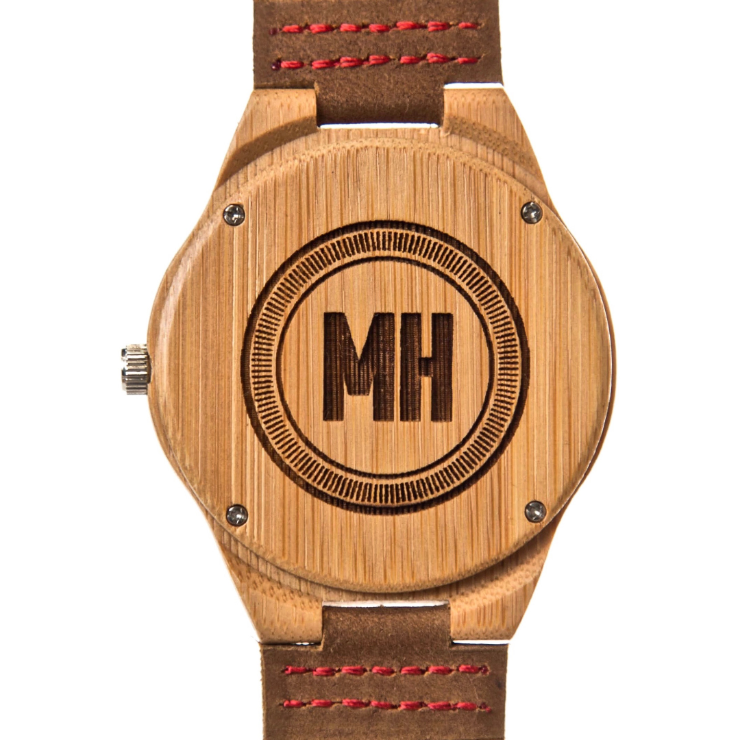 personalized wooden watch with initials engraved at back