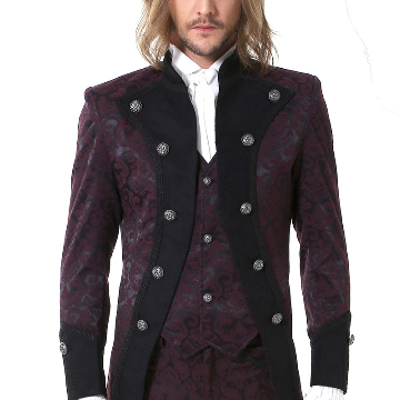 Gothic Baroque Pirate Coat with attached vest, lightweight, gorgeous claret colour