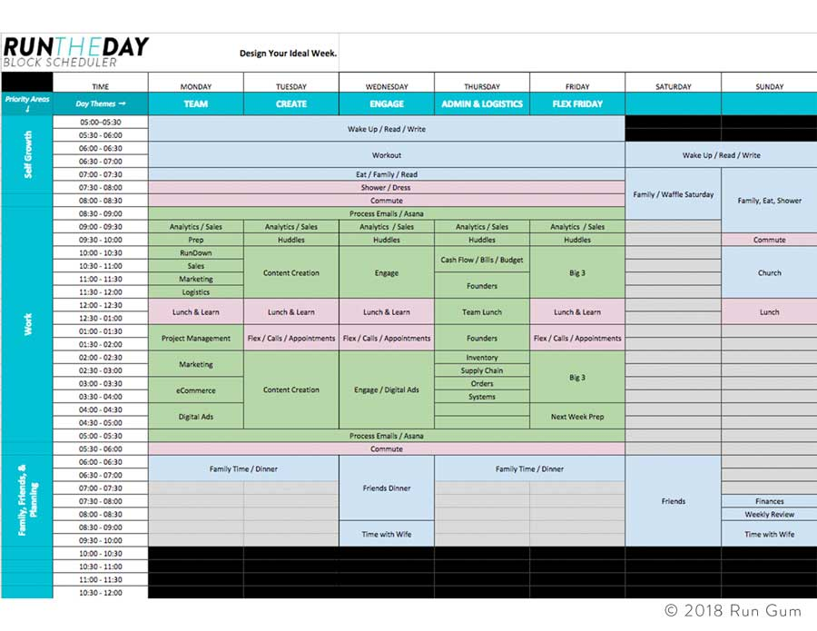 run the day block scheduler pdf worksheet run gum