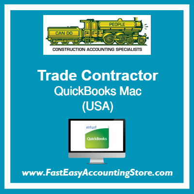Trade Contractor QuickBooks Setup Desktop Template USA