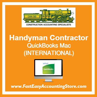 Handyman Contractor QuickBooks Setup Desktop Template International
