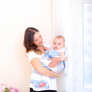 Baby Strickdecke Bio Baumwolle kbA GOTS Kuscheldecke Erstlingsdecke Minky Mooh blau gestreift grau weiß