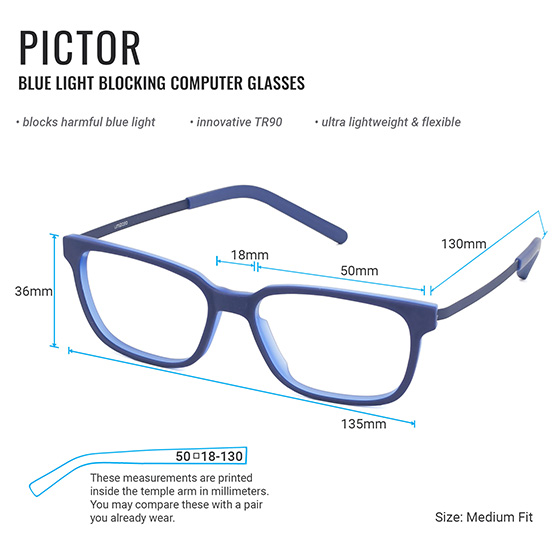 Pictor Computer Glasses Measurements Infographic | Umizato