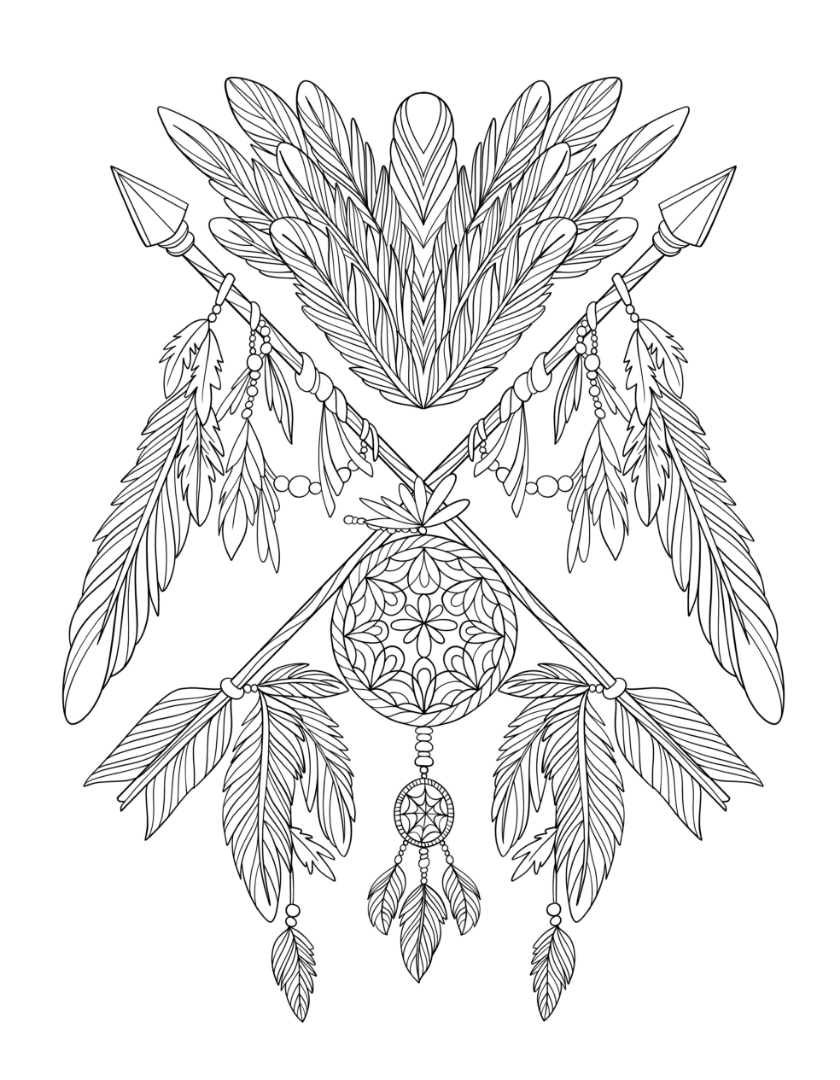 black and white dream catchers coloring pages | Freebie Friday Dreamcatcher Coloring Page