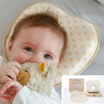 6 Baby Kissen gegen Plattkopf flachkopf Plagiozephalie aus bio baumwolle memory foam 2 bezüge