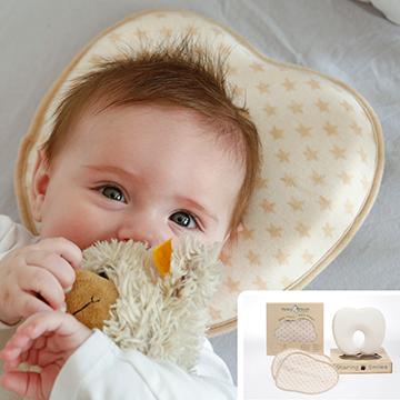Baby Kissen gegen Plattkopf flachkopf Plagiozephalie aus bio baumwolle memory foam 2 bezüge in toller geschenk verpackung babykissen