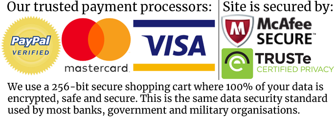 Paypal, Mastercard, Visa, McAfee Secure, Truste Certified Privacy