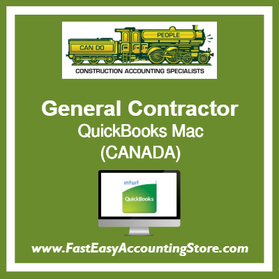 General Contractor QuickBooks Setup Desktop Template Canada