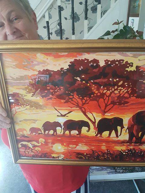 Paint By Numbers - Elephant Family At Sunset
