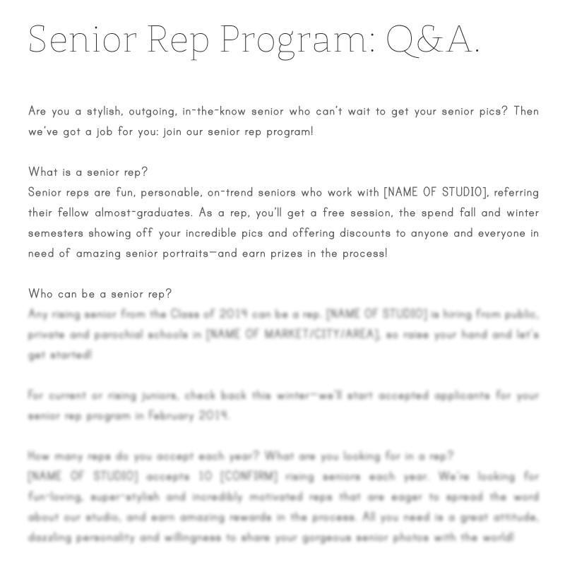 senior photographer marketing pre-written text