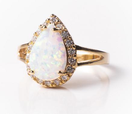 White Fire Champagne Opal Ring (W/B/Y/P/O)