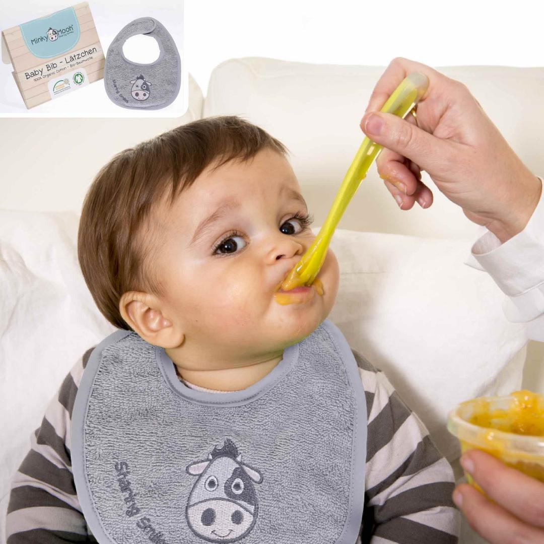 HERO Baby Lätzchen bib bio baumwolle organic GOTS kBA Schlabberlatz kuh stickerei saugstark minky mooh.jpg