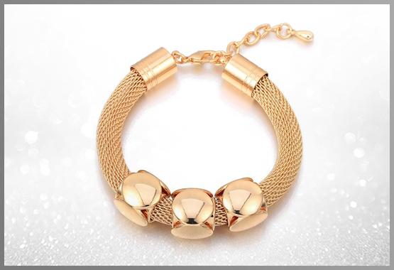 Cube Charms Gold Metal Bracelet