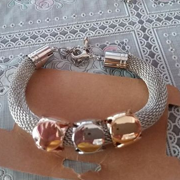 Cube Charms Gold Metal Bracelet