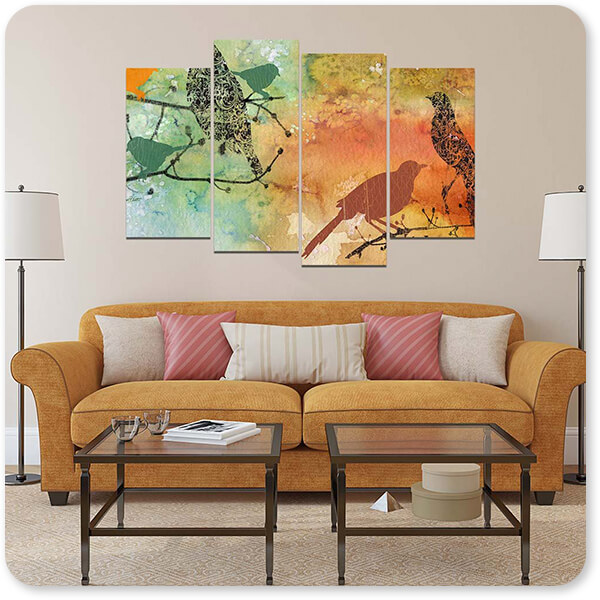 Birds On Watercolor-B - Multi-piece Canvas Art - 3 Designs - EXPRESS DELIVERY!