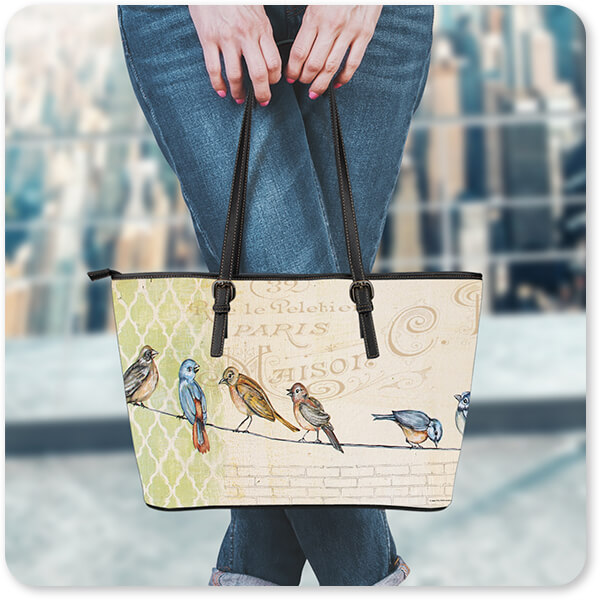 Woman Standing on Building rooftop with Birds Gathered On Wire - Large Leather Tote Bags - 4 Designs